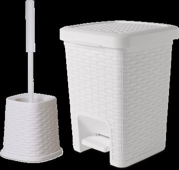 Square Set – Square Pedal Bath Bin & Classic Toilet Brush